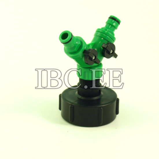 "3/4"" BSP male x S60X6 female buttress and Plastic Hose Pipe Tool 2 Way Connector 2 Way Tap Garden"