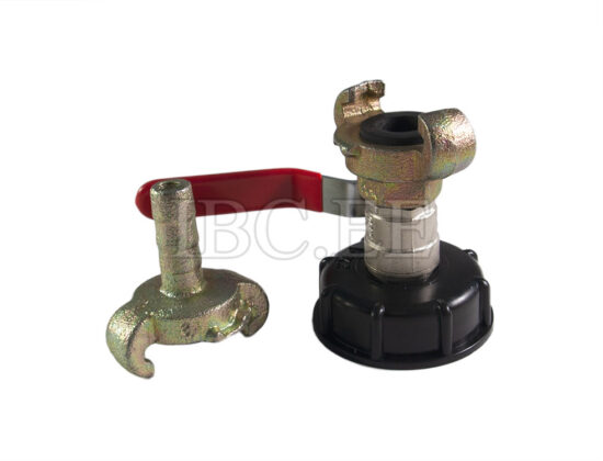 Adapter IBC - Geka coupling S60X6 female 1/2'' valve MM DN15 PN25 nikkel Geka hose zinked 15 mm