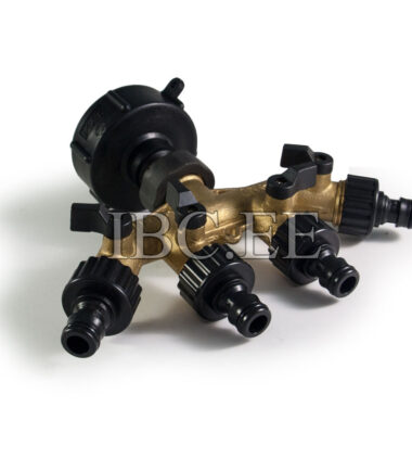 IBC connector S60x6 4 Way Tap Connectors 34'' Hose Pipe Garden for Irrigation System Garden brass quick connect